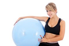 Woman with pilates ball Stock Photography