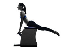 Woman pilates chair exercises fitness isolated Stock Image