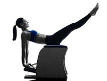 Woman pilates chair exercises fitness isolated Royalty Free Stock Photo