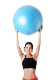 Woman with pilates exercise ball. Stock Photo