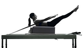Woman Pilates Reformer Exercises Fitness Isolated Stock Images