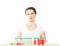Woman and pill close up Stock Photos