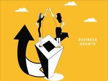 Woman on Pillar to Enjoy Success vector illustration
