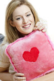 Woman with pillow stock photos