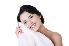 Woman with pillow Royalty Free Stock Image