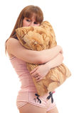 Woman with a pillow Royalty Free Stock Images