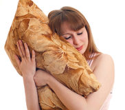 Woman with a pillow Royalty Free Stock Image