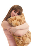 Woman with a pillow Royalty Free Stock Photography