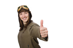 The woman pilot isolated on the white Stock Images