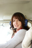 Woman pilot in plane Royalty Free Stock Photography