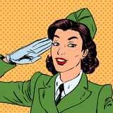 Woman pilot stewardess shape salutes art comics retro style Hal vector illustration
