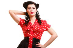 Woman pin-up make-up hairstyle posing in studio Royalty Free Stock Images