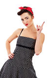 Woman pin-up style with finger. Woman pin-up style on white background with finger Royalty Free Stock Photography