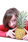 Woman and pineapple royalty free stock image