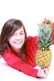 Woman with pineapple royalty free stock image
