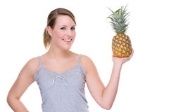 Woman with pineapple Stock Photo