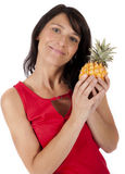 Woman with pineapple Royalty Free Stock Photos