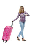 Woman with pink bag looking at the time Royalty Free Stock Photos