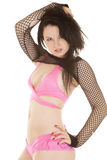 Woman pink bikini hand hair serious Stock Photo