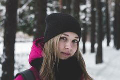 Woman in Pink and Black Jacket on White Snow Royalty Free Stock Images