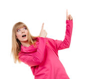 Woman pink blouse showing copy space Royalty Free Stock Image