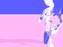 Woman on pink and blue Stock Images