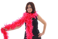 Woman with pink boa Royalty Free Stock Photos