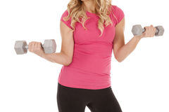 Woman pink body weights Royalty Free Stock Photography