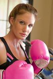 Woman In Pink Boxing Gloves 1 Royalty Free Stock Image