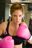 Woman In Pink Boxing Gloves 5 Stock Photo