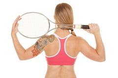 Woman pink bra back tennis close Royalty Free Stock Photo