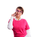 Woman in pink calling by phone. Business woman in pink calling by phone Stock Photos