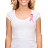 Woman with pink cancer awareness ribbon Stock Photography
