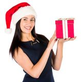 Woman With A Pink Christmas Gift Royalty Free Stock Image