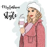 Woman in pink coat and coffee in hand. Vector Stock Photo
