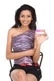 Woman with pink credit card Royalty Free Stock Photography