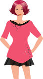 Woman pink dress illustration. Illustration with young woman in pink dress Stock Photos