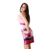 Woman in pink dress with orthodontic appliance Stock Images