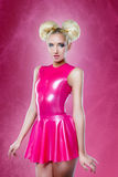 Woman pink dress Stock Images