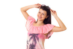 Woman in pink dress with sunglasses Stock Photos