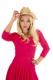 Woman pink dress western hat touch Stock Photos