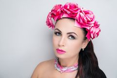 Woman pink flower wreath bright make up royalty free stock photo
