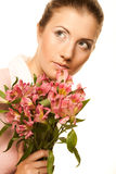 Woman with pink flowers Royalty Free Stock Photos