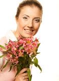 Woman with pink flowers Stock Image