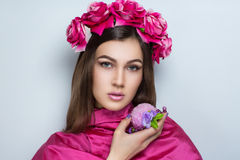 Woman pink flowers Royalty Free Stock Images