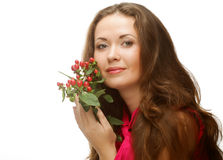 Woman with pink flowers Stock Photos