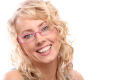 Woman in pink glasses Stock Image
