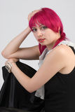 Woman with pink hair royalty free stock images