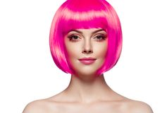 Woman with pink hair beautiful femail model isolated on white stock photo