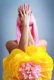 Woman with pink hair Stock Images
